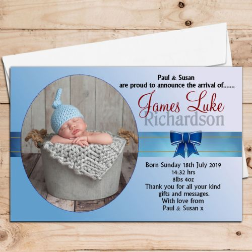 10 Personalised Boys Baby Birth Announcement Thank You Photo Cards N64